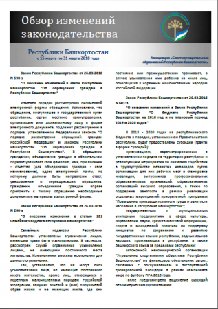 Обзор изменений законодательства Республики Башкортостан за период с 15 по 31 марта 2018 года
