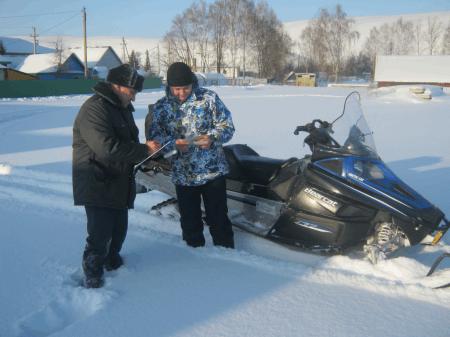 """В Бижбулякском районе в рамках операции """"Снегоход"""" идет проверка технического состояния внедорожных мотосредств."""